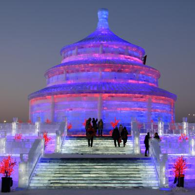 China Harbin Winter Songhua river snow world Ice temple of heaven